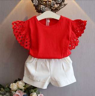 Girls sleeve suit short-sleeved two-piece suit