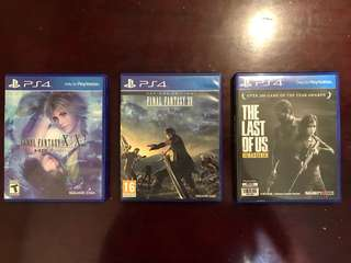 PS4: Final Fantasy X Day 1 Edition, The Last Of Us, and Final Fantasy X / X2 , bundle for P2000.00