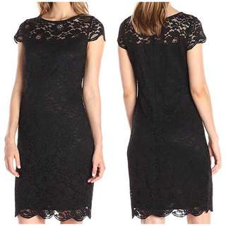 Cap-Sleeve Lace Dress - Small