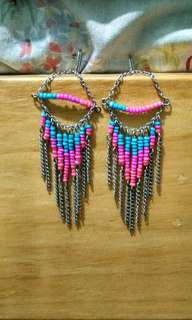 F21 Forever 21 dangling bead blue and pink necklace