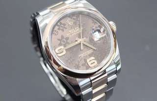Rolex Datejust 36MM Steel & Rose Gold Chocolate Diamond 116201