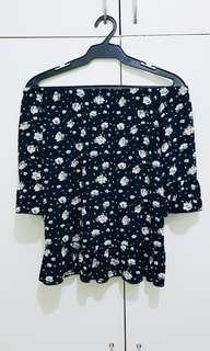 Off Shoulder Floral Top (Dark Blue)
