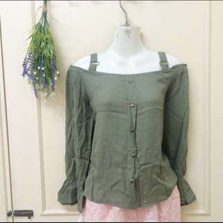 [new] army green top