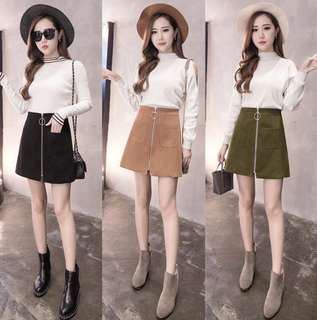 Brown High waisted trendy skirt