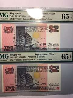 1 pair of Singapore Purple Ship 🚢 $2 FF prefix Replacement notes both PMG 65 EPQ