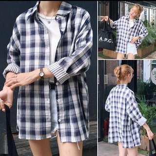 Oversize checkered outerwear