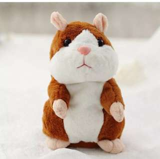 [U.P.S$25] Lovely Talking Plush Hamster Toy, Can Change Voice, Record Sounds and Nod its Head. Early Education for Baby / display / gift for birthday/ for children's day. Bright brown15cm