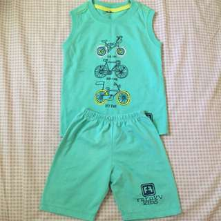 Boys terno cotton muscle shirt & shorts