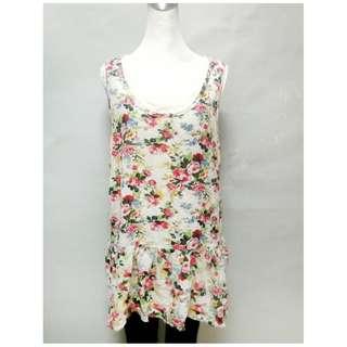 女裝XL號圓領修身棉麻材質兩件式碎花無袖連身裙