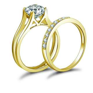 10k Solid Yellow Gold Bridal Ring Set 4 Prongs 1.5ct Round Cut lab made diamond Ring Set Fine Engagement Wedding Jewelry Gift for woman
