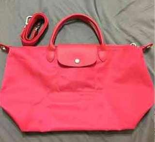 🚚 Longchamp 中型 帆布 鳶紅色