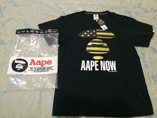 [NEW] Aape Black Golden Tee