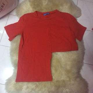 Korean red irregular top