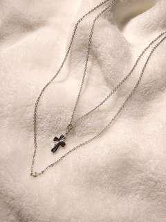 Double chain silver cross
