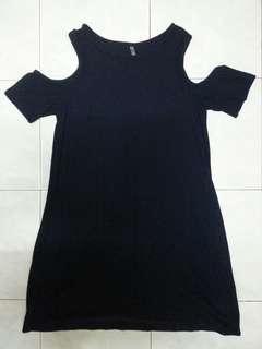 Short Blue Bare-Shoulder Dress