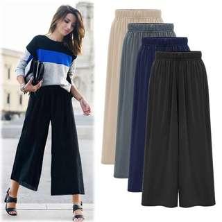 (M~6XL) Summer casual pants Korean wide leg pants high waist wild nine pants