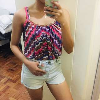 Colorful Patterned Cropped Tank Top