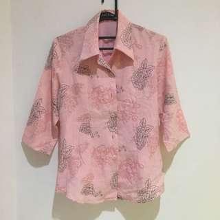 Kemeja Baju Kantor Wanita BRANDED Murah Lucu Pink Bunga Unik