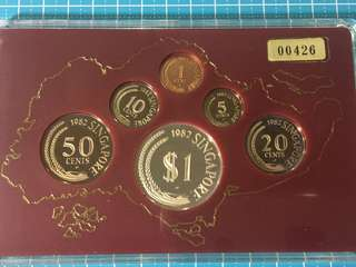 Singapore Proof Coin Set Year 1982, Rare Low Number Set