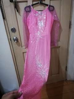 Vietnamese traditional costume sequined pink high slit long dress #sweldosale