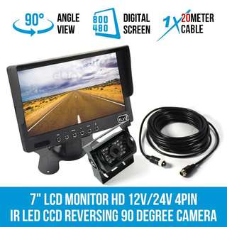"Heavy Vehicles Reverse Rear + Front Recording Camera System for Lorry/Bus/Truck/Coach/Crane/Excavator/Trailer - 7""inch LCD Monitor+Reverse Rear/Front Camera with Power Cable (9V-36V/Wide-Angle/Weatherproof/Waterproof/18IR Night-Vision/LTA Approved)7-STAR*"