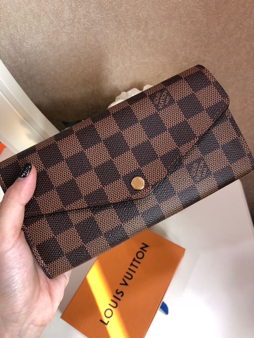 311e3b8469860 🌸 New Kept Louis Vuitton Damier Ebene Sarah Wallet Rose Ballerine ...