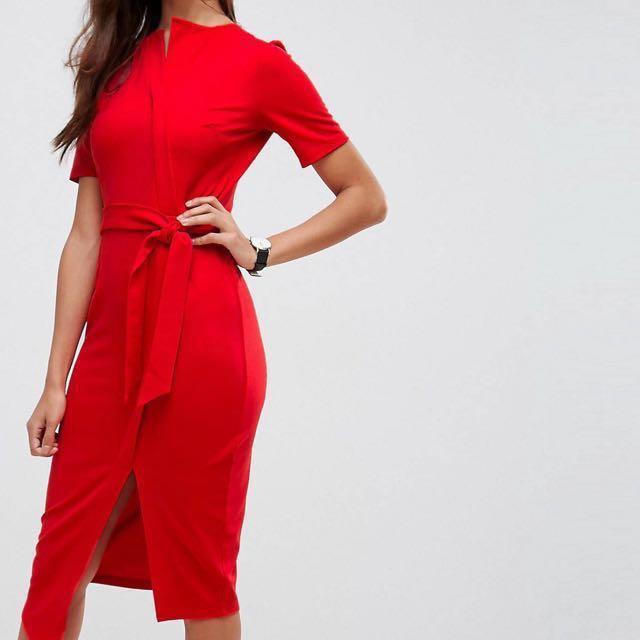 ec368f1f061 ASOS Midi Wrap Dress with Belt