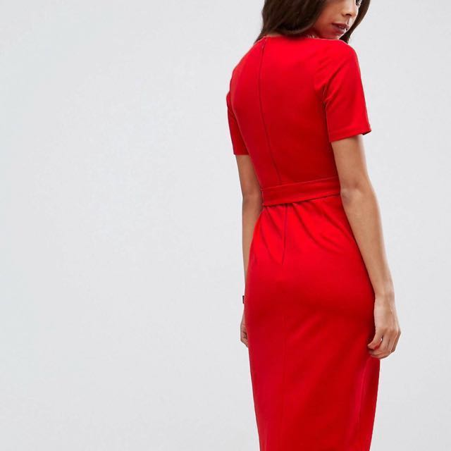 46e74a41e86 ASOS Midi Wrap Dress with Belt