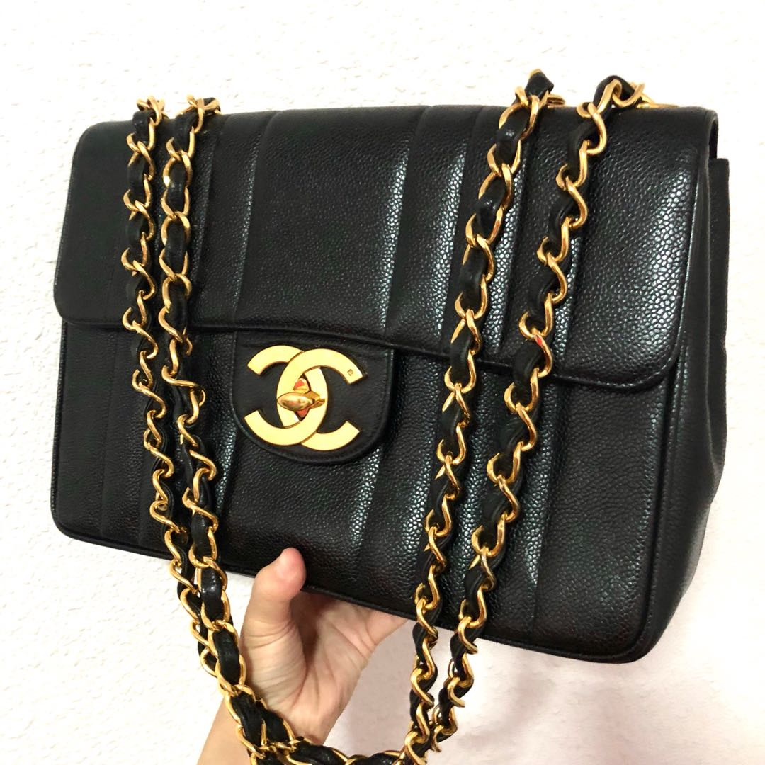 2d7a4ca33171 Authentic Chanel Caviar Vertical Quilted 12 Inch Vintage Jumbo with 24k  Gold Hardware