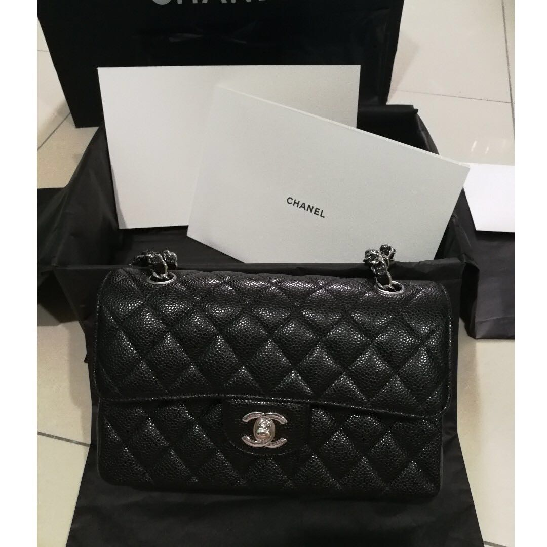 6d40f6f4ffd Authentic Chanel Classic Double Flap Caviar Silver Small 2018 Brand ...