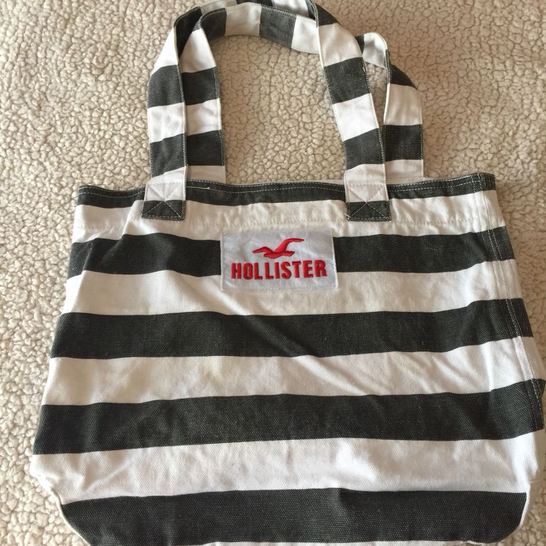 Authentic Hollister Charcoal and White Tote Bag 1015a01b8c05f