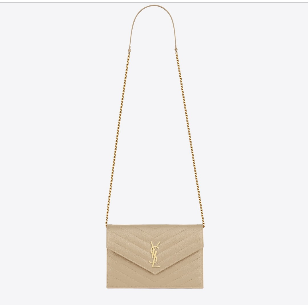AUTHENTIC NEW YSL ENVELOPE CHAIN WALLET IN POWDER TEXTURED MATELASSÉ LEATHER