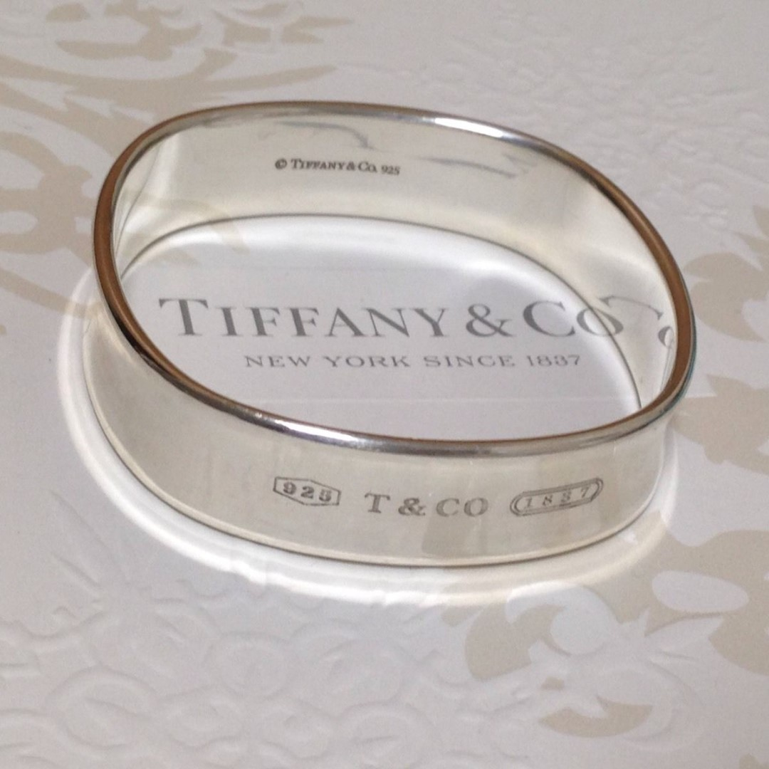 b6f432079 Authentic Tiffany & Co. 1837 Cushion Square Wide Bangle Silver, Women's  Fashion, Jewellery, Bracelets on Carousell