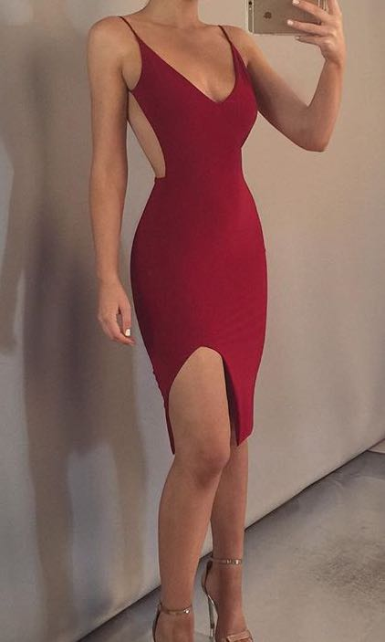 boom boom the label dress red women s fashion clothes on carousell