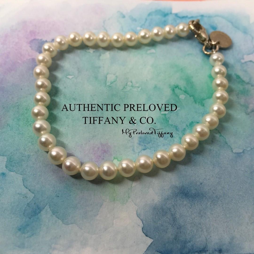 "7b10eb9937eb7 Excellent Authentic Tiffany & Co. Ziegfeld Freshwater Pearl Bracelet 7"""