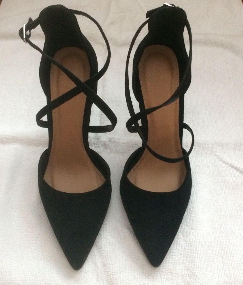 36e5e151d30 Forever 21 Black Faux Suede Cross-Strap Heels