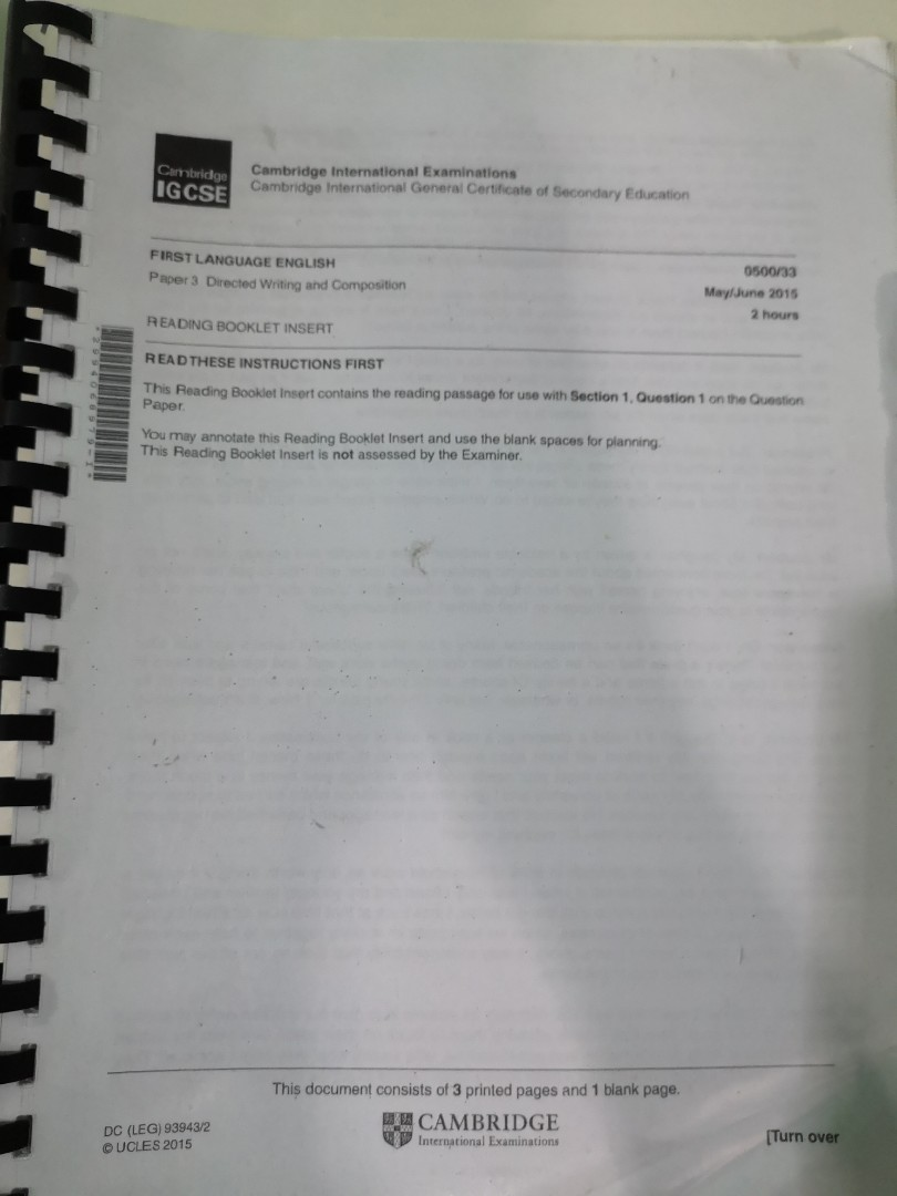 IGCSE Past Papers First language English
