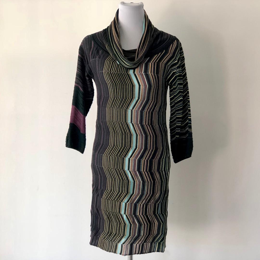 M Missoni Multicolour Knit Cowl Neck Sweater Dress Size UK 8