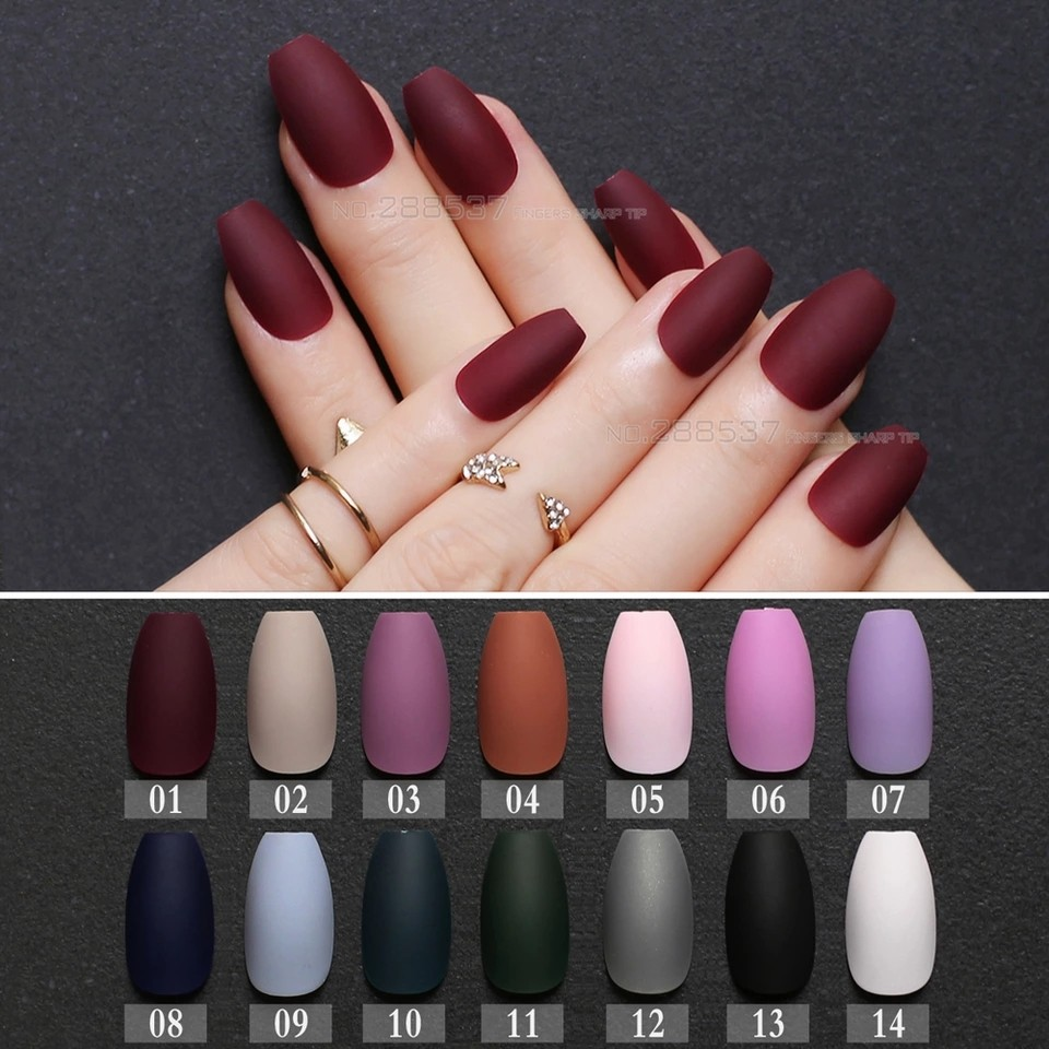Matte burgundy Coffin False nails Gray Pure Blue Designs Nude 24pcs ...