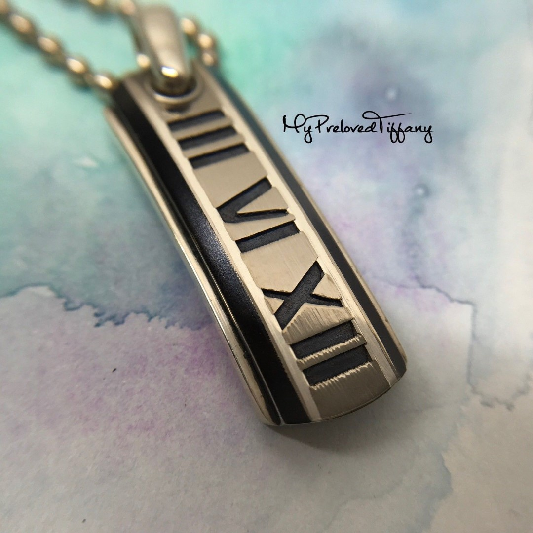 372f16c04 Rare Authentic Tiffany & Co. Numeral Atlas Titanium Dog Tag Silver ...