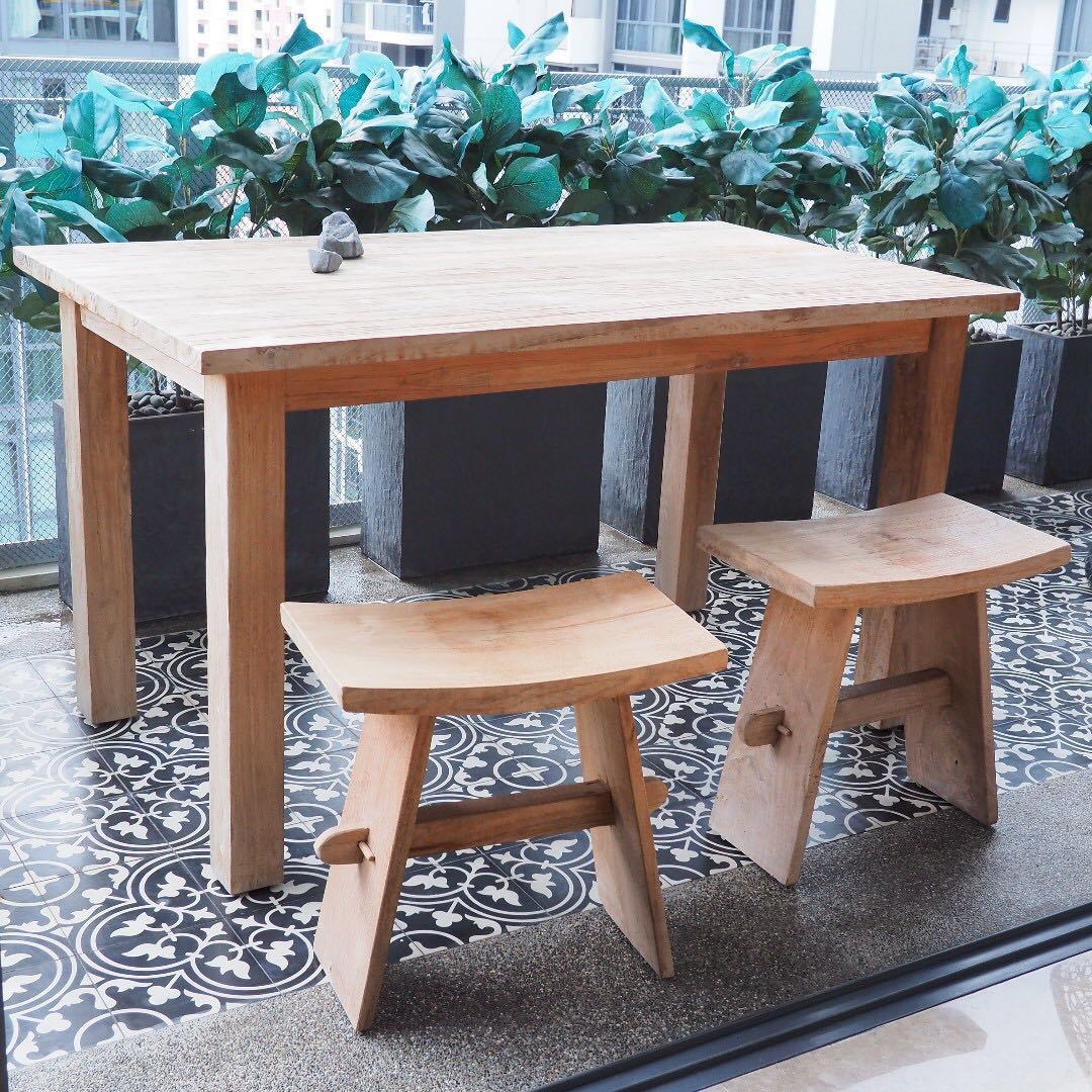 Scandinavian inspired dining table with stools