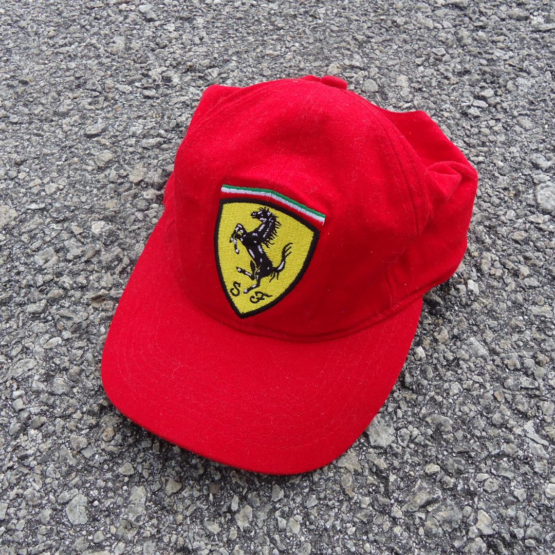 6b801f0d878f0 Vtg Ferrari Logo 1999 90s Strapback Cap Hats