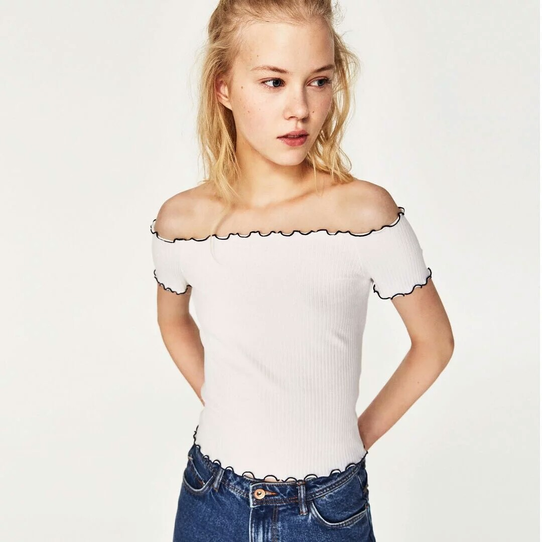 53b936c7e418ab Zara ribbed off the shoulder top