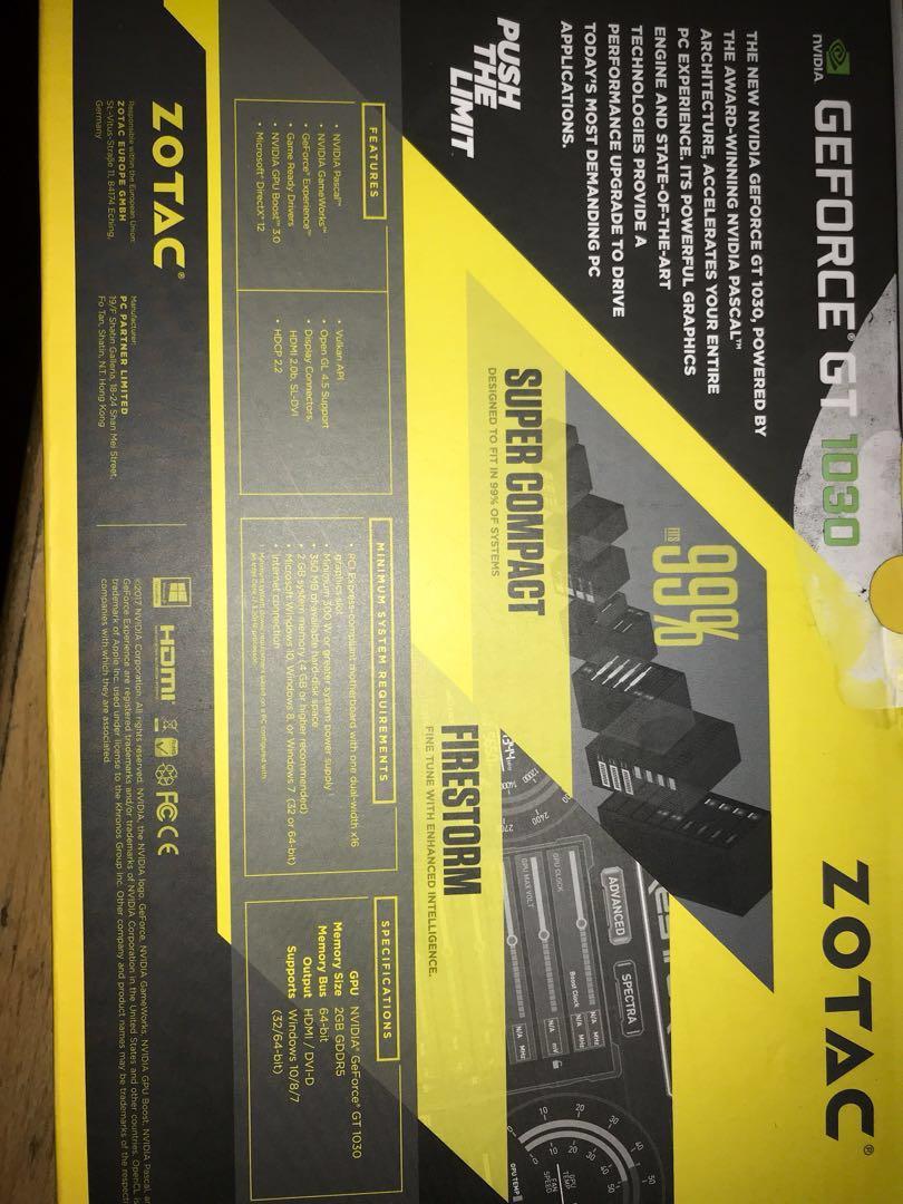 Zotac Geforce Gt1030 2gb Electronics Computers Desktops On Carousell Vga Gt 1030 Gddr5