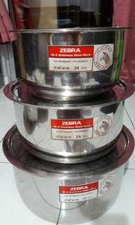 3pc standard steel ware (24cm,38cm&32cm)