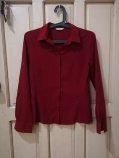 G2000 dark wine deep red maroon red office collared blouse