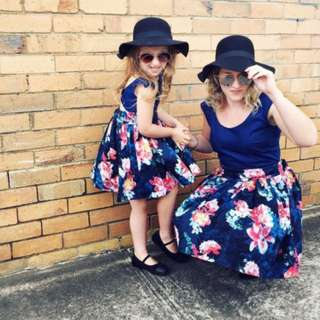 Family Match Mother Daughter Women Girls Summer Backless Flower Dress Sundress