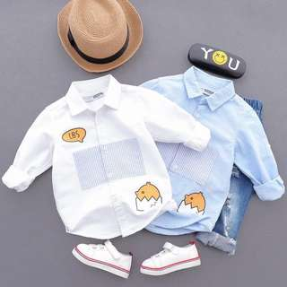 Kids Boy White / Blue Shirt with Cute Egg-gy Design
