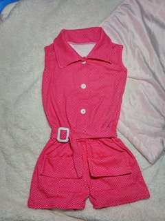 Baju Anak Polka Jumpsuits (tanpa lengan)