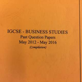 IGCSE Business Past Papers Compilation Book